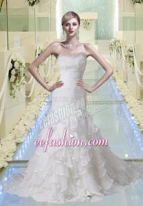 Mermaid Ruching and Ruffles White Wedding Dresses with Court Train