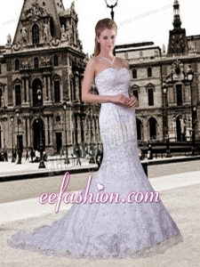 Mermaid Sweetheart Lace Wedding Dresses with Appliques