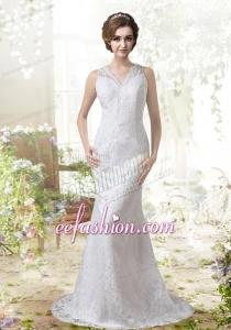 Mermaid V Neck Sweep 2015 Lace Wedding Dress