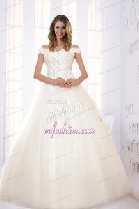 Modest Ball Gown Off The Shoulder Wedding Dress with Appliques