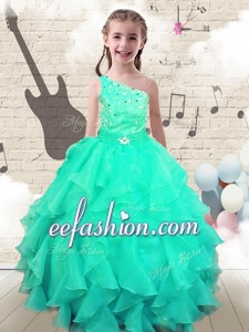 Modest Ball Gown One Shoulder Little Girl Pageant Dresses with Beading