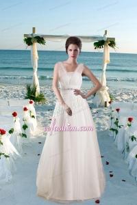 Modest Princess Brush Train Beading Wedding Dresses with V Neck