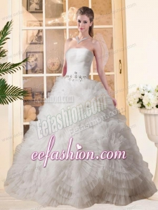 Most Popular Puffy Strapless Beading Wedding Dresses with Floor-length