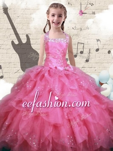 New Style Beading and Ruffles Little Girl Pageant Dresses in Watermelon