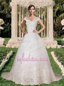 Off the Shoulder Lace Appliques Wedding Dress with Beading