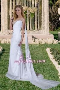One Shoulder Side Zipper Beading Watteau Train Wedding Dress