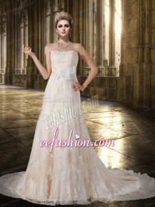Peach Chapel Train Strapless A Line Lace Wedding Dress