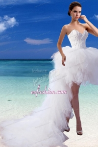 Perfect A Line High Low Sweetheart Appliques Wedding Dresses
