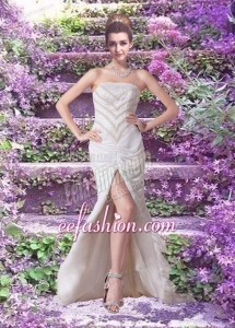 Popular Column Brush Train Beading Wedding Dress with Strapless