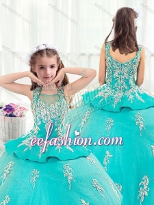 Pretty Straps Turquoise Little Girl Mini Quinceanera with Appliques