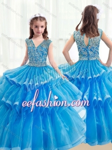 Pretty V Neck Baby Blue Little Girl Mini Quinceanera Dresses with Ruffled Layers