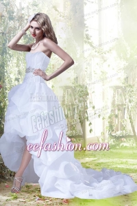 Princess Sweetheart Beading and Ruffles Wedding Dresses with High Low