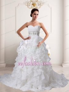 Romantic A Line Beading and Ruffles Wedding Dress with Sweetheart