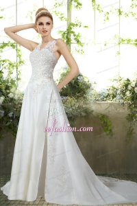 Romantic Column Halter Appliques Wedding Dress for 2014