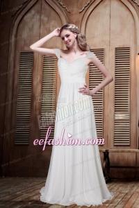 Romantic Empire Cap Sleeves Beading Wedding Dress for 2014