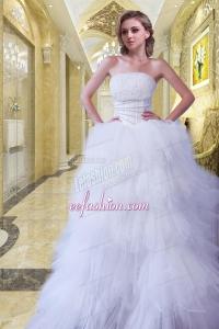 Romantic Strapless A Line Beading Brush Train Wedding Dress for 2015