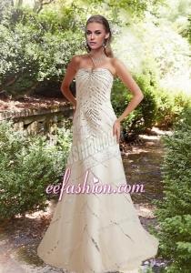 Sequins Column Beach Appliques Wedding Dress with Court Train