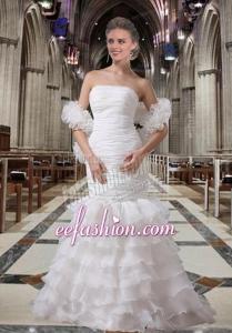 Sexy White Mermaid Brush Train Wedding Dresses with Ruffles Layers