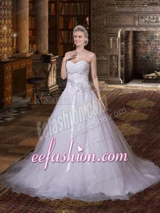 Sophisticated A Line Sweetheart Wedding Dress with Chapel Train
