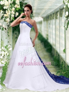 Sophisticated Strapless A Line Court Train Wedding Dress with Embroidery