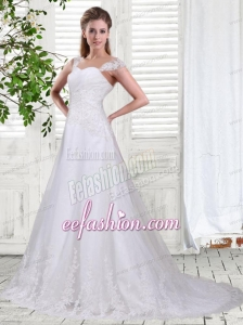 Sweet A Line Straps Court Train Wedding Dress with Lace