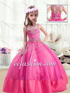 Sweet Ball Gown Beading Little Girl Mini Quinceanera Dresses in Hot Pink