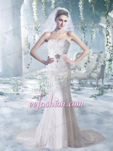 Sweetheart Lace and Elastic Woven Satin Court Train Wedding Gowns With Beading