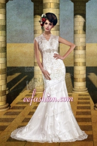 The Most Popular Mermaid Court Train Wedding Dress with Beading
