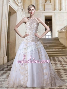 Tulle Ball Gown Halter Court Train Lace Up Appliques Exclusive Wedding Dress