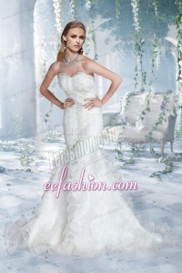 2014 Lace Mermaid Sweetheart Court Train Wedding Dress