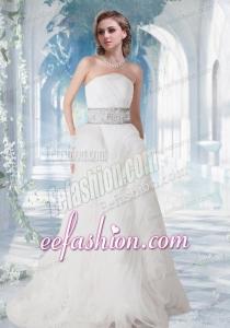 2014 Pretty Strapless Brush Train Beading Wedding Dress