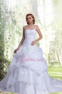 2014 Princess Strapless Court Train Lace Wedding Dress