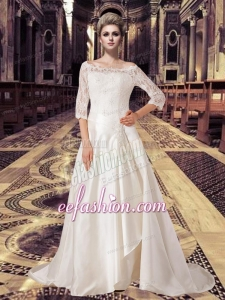 2015 Off Shoulder 3/4 Length Sleeves Lace Wedding Dress