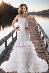 Beautiful Mermaid Strapless Beading Brush Train Wedding Gowns