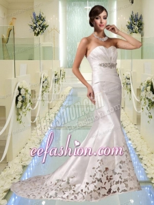 Cheap Mermaid Sweetheart Court Train Wedding Dresses with Beading