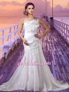Cheap One Shoulder Lace Up Wedding Dress with Chapel Train