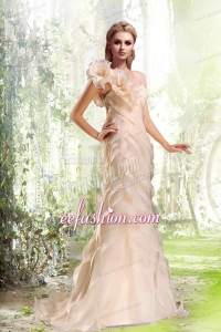 Column Ruffled Layers One Shoulder Brush Train Wedding Dresses in Peach