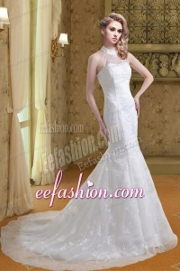 Fashionable Lace Mermaid Court Train Wedding Dress with Halter Top
