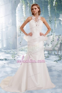 Garden Mermaid Appliques Brush Train Wedding Dresses with High Neck
