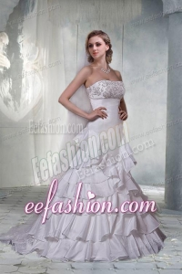 Gorgeous A Line Strapless Brush Train Wedding Dresses with Beading