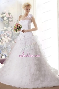 Hand Made Flowers Princess Chapel Train Wedding Dresses