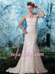 Lace Straps Court Train Beading Open Back Wedding Dress