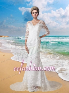Mermaid V Neck Half Sleeves Wedding Dress with Brush Train