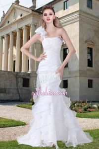 One Shoulder Ruffles Mermaid Appliques Wedding Dresses for 2014