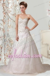 Princess Sweetheart Beading Wedding Dress with Court Train