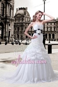 Princess Sweetheart Sash Court Train Wedding Dresses with Ruching