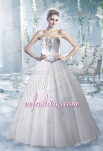 Puffy Sweetheart Floor Length Wedding Dresses with Beading