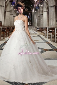 Romantic Princess Strapless Chapel Train Wedding Dress with Beading