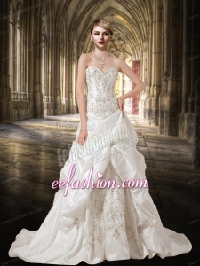 White Embroidery and Beading A Line Sweetheart Wedding Dresses