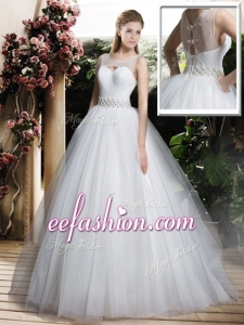 2016 Simple A Line Scoop Wedding Dresses with Beading and Belt